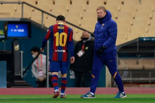 Koeman defends Messi after Barcelona captain sent off for punching opponent