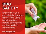Warning to those planning an Easter BBQ to dry their hands after sanitising as they could catch fire
