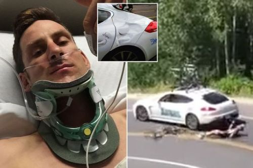 Cyclist suffered punctured lung slamming head-on into car in horrific footage