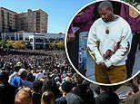 Kanye West's fans rush to his stage as he performs Sunday Service in Salt Lake City