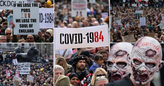Anti-lockdown protesters shout 'take off the mask' at huge London march
