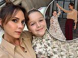 Victoria Beckham proudly twirls her 'number one guest' Harper as they gear up for LFW SS 2020 show