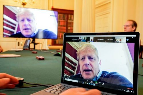 Boris Johnson holds coronavirus video conference call from his solo sick-bunker