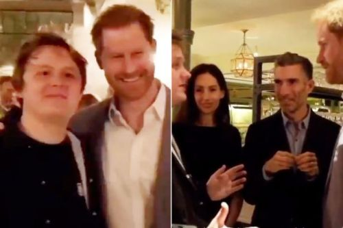 Prince Harry laughs as he hangs out with Lewis Capaldi after bombshell speech