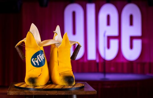 Glasgow comedy club unveils edible pair of Billy Connolly's 'big banana boots' to celebrate first birthday