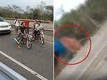 Tragic moment man is run over by a SUV during illegal motorcycle race in the Dominican Republic