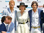 New dad Prince Harry is all smiles as he takes part in a charity polo match in Rome