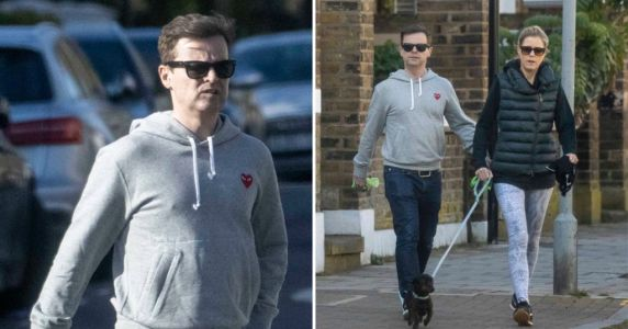 Declan Donnelly and wife Ali Astall get their daily exercise in with their sausage dog