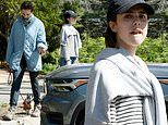 Margaret Qualley sports a preppy casual look while hiking with mom Andie MacDowell during quarantine