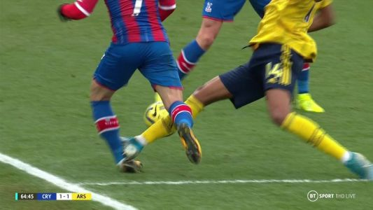 Arsenal star Aubameyang sent off by VAR for shocking tackle of Crystal Palace's Max Meyer who is forced off injured