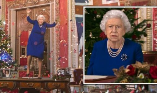Queen MOCKED in brutal Channel 4 stunt as she dances on table for Christmas Speech spoof