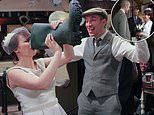 Emmerdale's Lydia Hart drinks from a welly boot as she celebrates tying the knot with Sam Dingle
