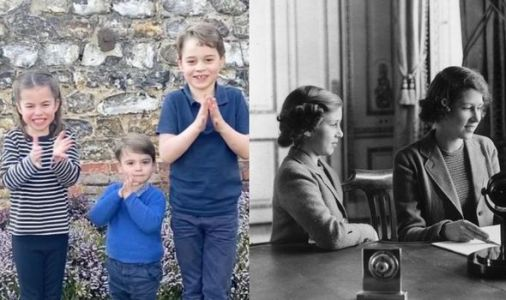Princess George, Princess Charlotte and Prince Louis mirror the Queen's wartime efforts