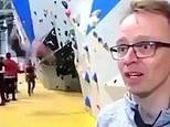 Boy falls from a climbing wall and lands flat on his back on live TV