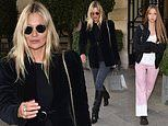 Kate Moss and daughter Lila Grace, 17, leave their hotel in Paris