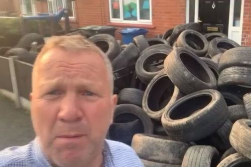 Angry landowner takes revenge on fly-tipper who dumped over 400 tyres