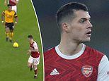 Wolves mock Arsenal's Granit Xhaka in TikTok video showing him defending against Adama Traore