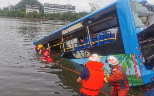 21 killed after bus carrying students crashes into lake amid widespread flooding in China