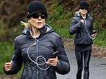 Nicole Kidman shows off her trim figure in activewear as she goes for a run in Byron Bay