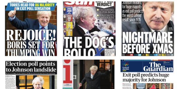 From 'vindication' to 'meltdown,' here are how UK newspapers are announcing Boris Johnson's expected landslide election win