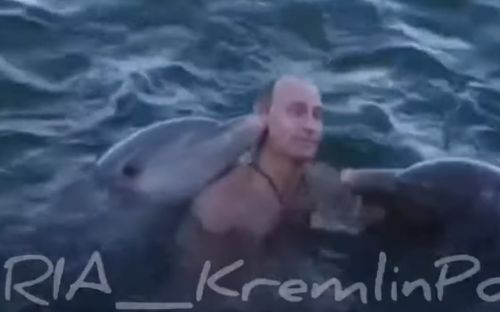 Topless Vladimir Putin rides DOLPHINS in bizarre unseen footage to celebrate 20 years in power