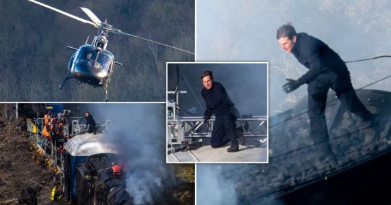 Tom Cruise goes full Tom Cruise and leaps across a speeding train for action packed Mission: Impossible 7 scenes