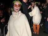 Billie Eilish greets fans and poses for snaps after her win at the 2020 BRIT Awards