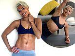 Strictly's Karen Hauer showcases her washboard abs in a tiny black sports bra