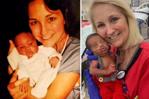 Premature baby gets cared for by same nurse as dad, 34 years later