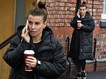 Coleen Rooney goes make-up free during animated phone call in Cheshire