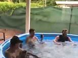 Ingenious 'Australian spa' featuring a blow up pool and a boat motor goes viral