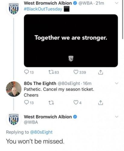 """You won't be missed"" - West Brom put idiotic fan in his place with superb tweet"