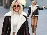 Ashley Roberts looks chic in beige leather trousers and a faux fur aviator jacket