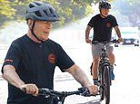 Bruce Willis cuts a casual figure as he  enjoys a sunny bike ride back home in California