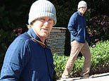 Owen Wilson cuts a casual figure as he goes for a stroll in blue jacket and khaki trousers