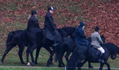 The Queen stands by Prince Andrew as pair go on family horse ride in Windsor