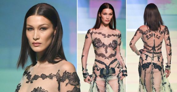 The sheer cheek of it! Bella Hadid stuns on the catwalk for Jean Paul Gaultier's last fashion show
