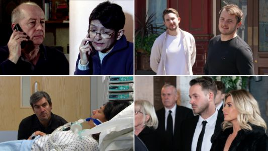 12 soap spoiler pictures: Coronation Street Geoff's Yasmeen revenge, EastEnders kissing secrets revealed, Emmerdale blackmail horror, Hollyoaks revelation