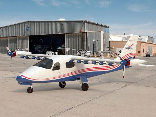 NASA has developed an experimental fully electric plane with 14 motors on its wings. Take a closer look at the X-57 Maxwell