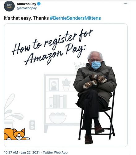 Amazon Hijacked The Bernie Sanders' Inauguration Meme For An Advert. It Did Not Go Well