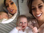 Stacey Solomon jokes that son Rex 'loves to stroke her chin fuzz' before he goes to sleep