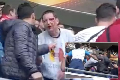 Fan left bloodied as fighting breaks out ahead of Europa League final between Marseille and Atletico Madrid