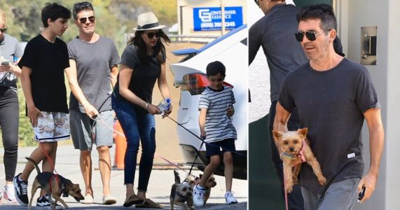 Simon Cowell, Lauren Silverman and their kids escape coronavirus isolation to walk their dogs