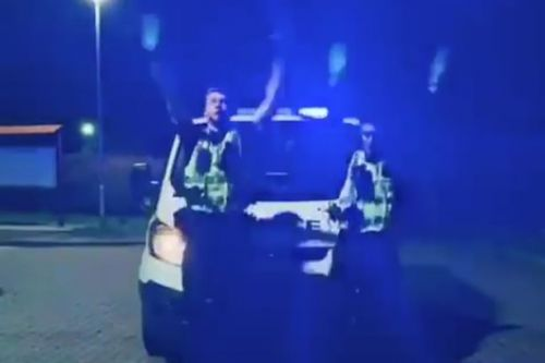 Hilarious video shows police attempt TikTok challenge