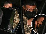 Drake wears a camouflage sweater as he departs Nobu Malibu after celebrating his 34th birthday