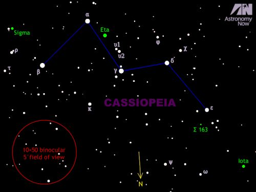 Hunting for colourful double and triple stars in the constellation of Cassiopeia