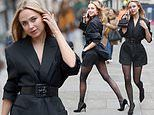 Kimberley Garner puts on leggy display in thigh-skimming playsuit as she attends London Fashion Week