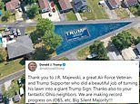 Air Force veteran paints his entire yard with a 19,000sq ft Trump 2020 banner
