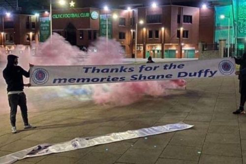 Shane Duffy trolled by Rangers fans with Celtic Park banner
