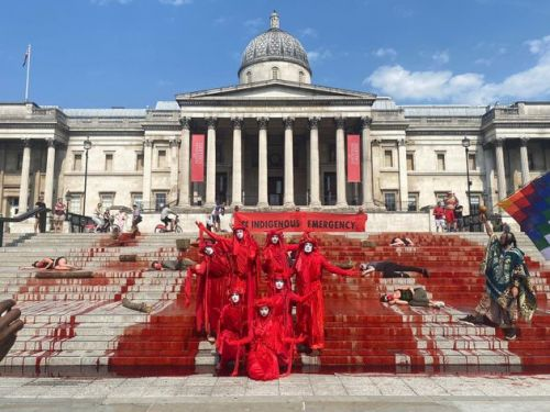 Extinction Rebellion Activists Drench Trafalgar Square In Fake Blood